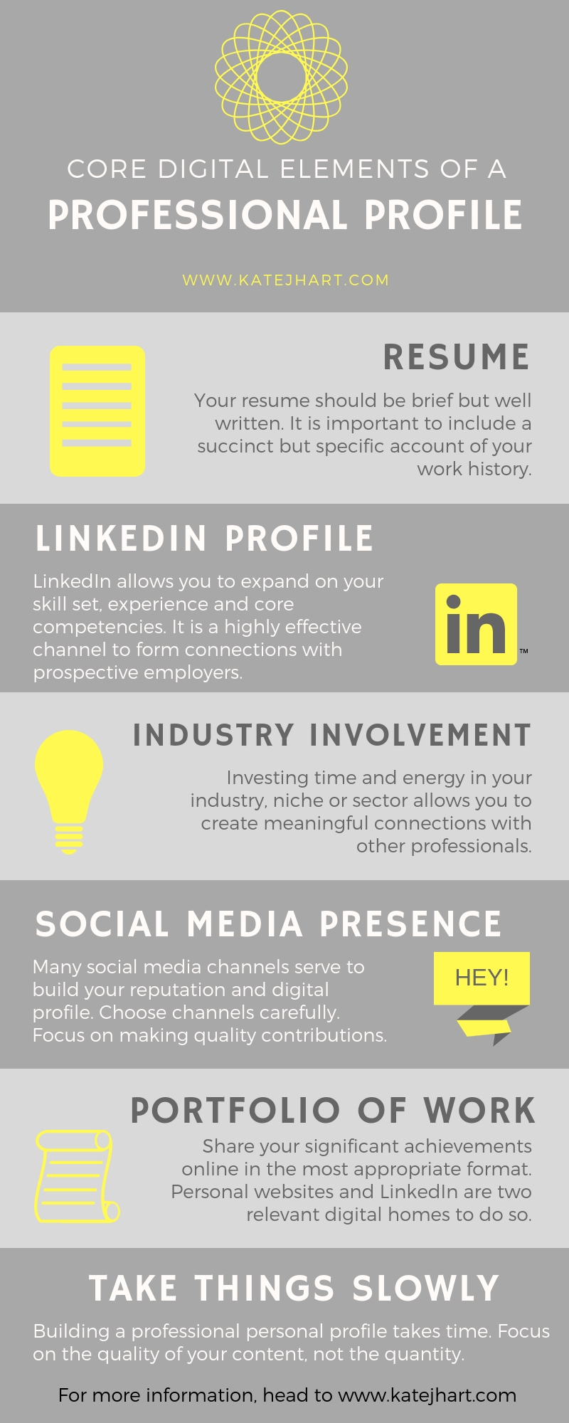 Infographic Core Elements of a Professional Profile