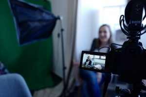Woman recording video